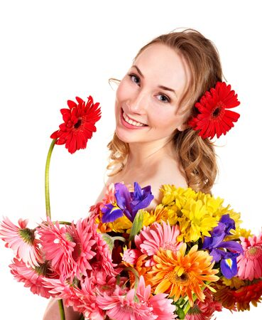 Beautiful  young woman holding  flower. Isolated. photo
