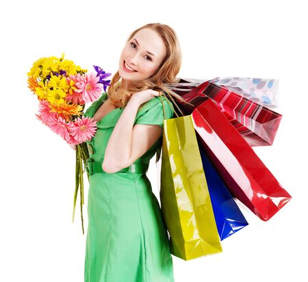 herbera: Happy young woman with shopping bag. Isolated.