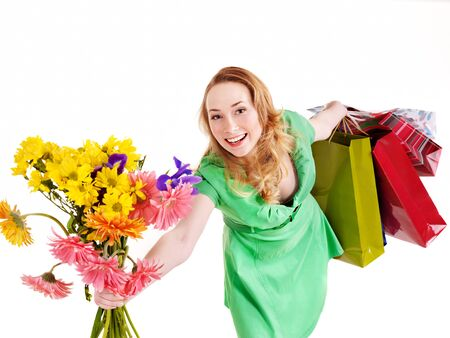 Happy young woman with shopping bag. Isolated. Stock Photo - 9268267