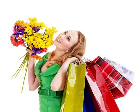 Happy young woman with shopping bag. Isolated. Stock Photo - 9268212