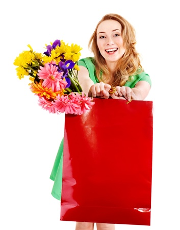 Happy young woman with shopping bag. Isolated. Stock Photo - 9268108