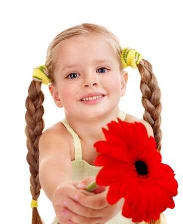 herbera: Happy little girl giving  flowers.
