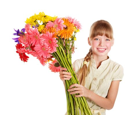 herbera: Happy little girl holding bunch of flowers.