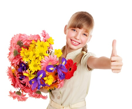 Thumb up of happy little girl. Stock Photo - 9268214