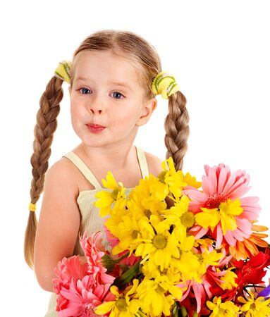 Happy little girl holding bunch of flowers. Stock Photo - 9268251