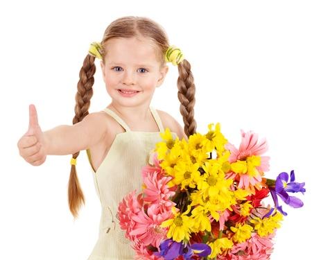 Thumb up of happy little girl. photo
