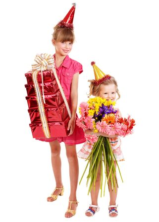 Little girl in party hat with stack gift box. Isolated. Stock Photo - 9385536