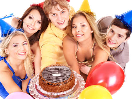 Group people in party hat holding cake. Isolated. Stock Photo - 9794014