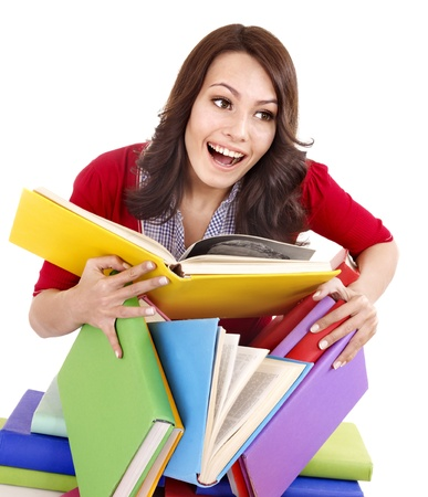 Girl with pile color book . Isolated. Stock Photo - 9385609