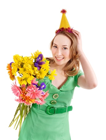 Young woman in party hat with flower. Isolated. Stock Photo - 9385610