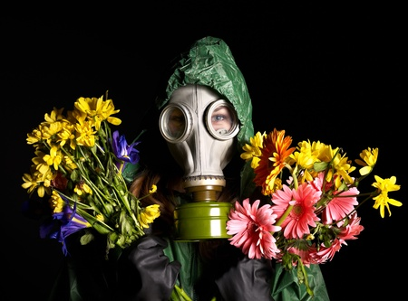 gasmask: Young woman  in gas mask .Toxic Environment