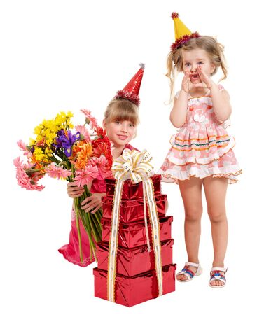 Little girl in party hat with stack gift box. Isolated.