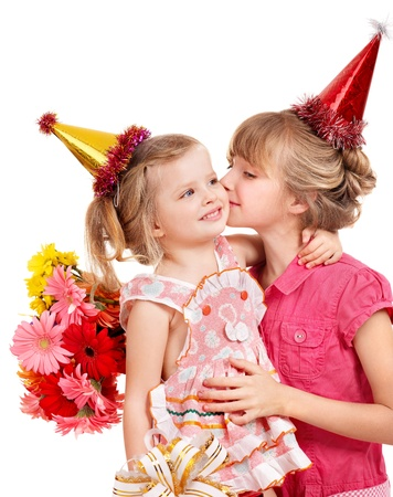 Little girl in party hat with stack gift box. Isolated. Stock Photo - 9385730