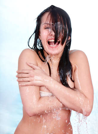Beautiful girl with wet hair. Isolated. Stock Photo - 9392291