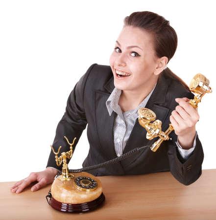 Happy businesswoman speaking phone. Stock Photo - 9392286