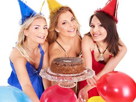 Group people holding cake. Isolated. photo