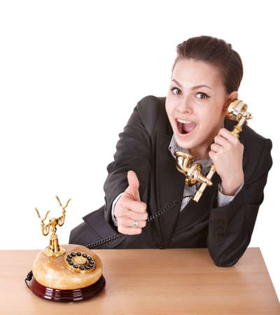 Happy businesswoman speaking phone. Stock Photo - 9522569