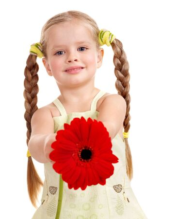 little girl smiling: Happy little girl giving  flowers.