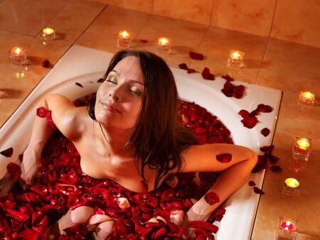 Woman swimming of bath tub. Stock Photo - 9526737