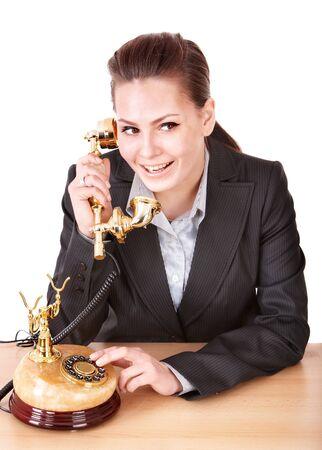Happy businesswoman speaking phone. Isolated. Stock Photo - 9620134