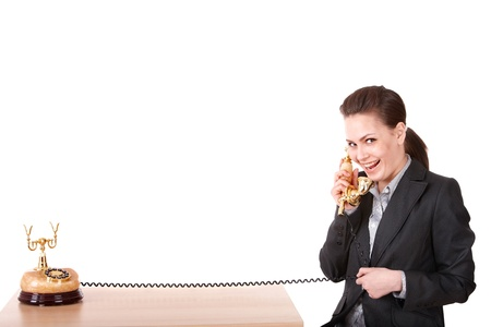 Happy businesswoman  with golden  phone. Isolated. Stock Photo - 9620045