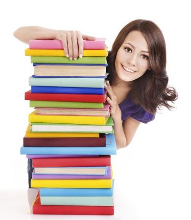schulm�dchen: M?dchen mit Stack Farbe Buch. Isoliert.