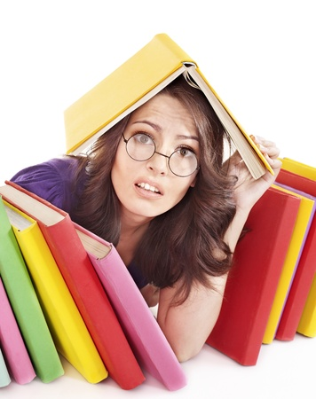 Girl with stack color book . Isolated. Stock Photo - 9620219