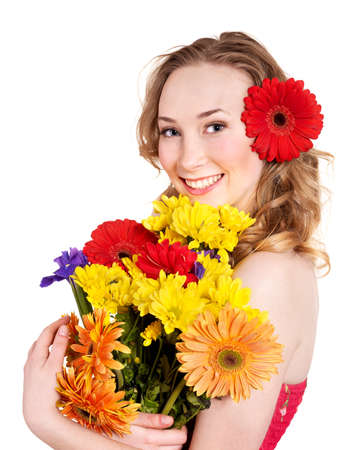 Beautiful  young woman holding  flowers. photo