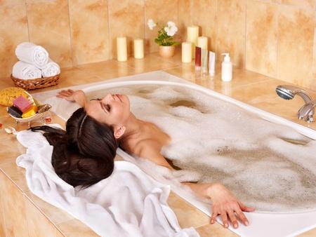 Young woman take bubble  bath. Stock Photo - 9620317