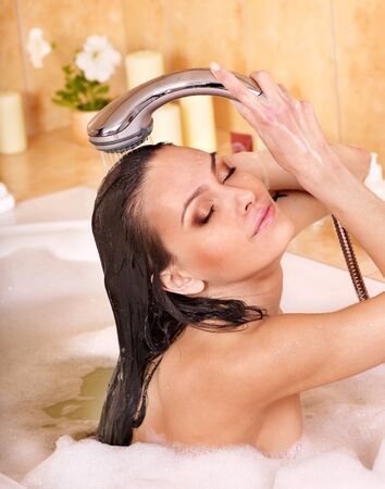 girls bathing: Young woman take bubble  bath.