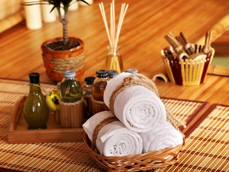 spa towels: Spa still life  with bamboo and water.