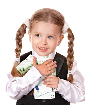 Happy little girl with money euro. Isolated. photo