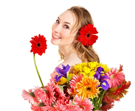 scincare: Beautiful  young woman holding  flower.