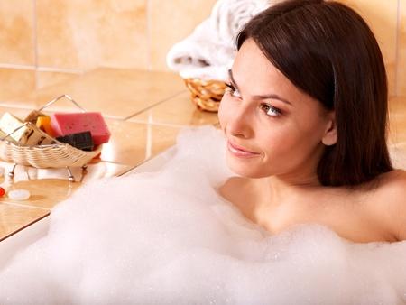Young woman take bubble  bath. Stock Photo - 9780132