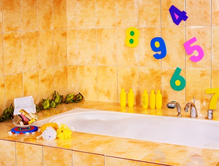 relaxion: Bathroom interiror and bath items for child. Stock Photo