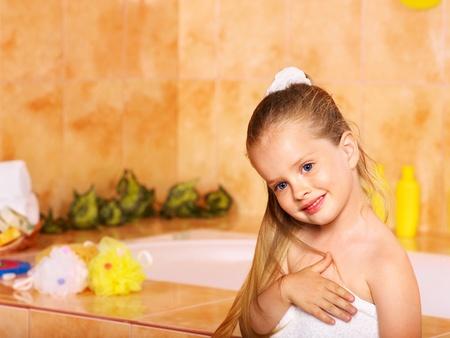 Child washing in bubble bath . Stock Photo - 9779827