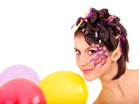 'face painting': Beautiful girl  with make up and hairstyle.  Isolated.