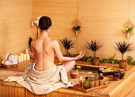 deportment: Bamboo massage at spa and woman.
