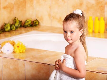 Child washing in bubble bath . Stock Photo - 9781222