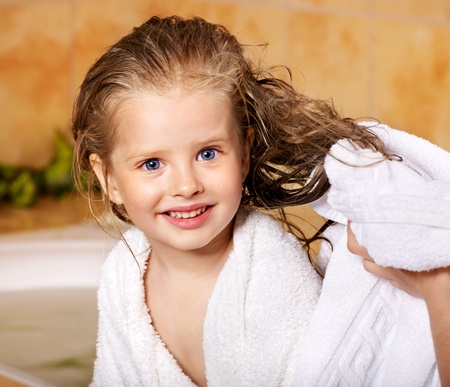 girls bathing: Child washing in bubble bath . Stock Photo