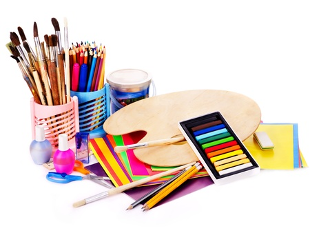 wood craft: Back to school supplies. Isolated.
