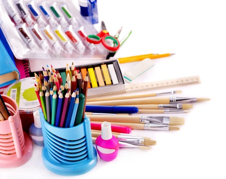 Back to school supplies. Isolated. Stock Photo - 9781054