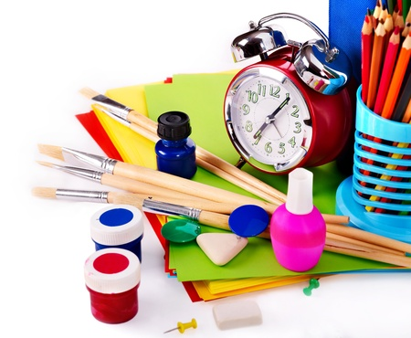 corner clock: Back to school supplies. Isolated.