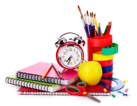fournitures scolaires: Retour aux fournitures scolaires. Isolé. Banque d'images