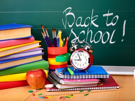 Back to school supplies. Isolated. Stock Photo - 9781721