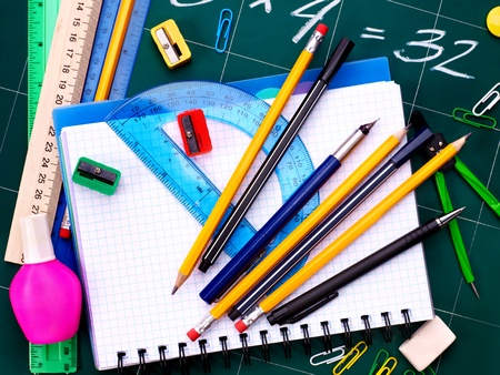 Back to school supplies. Isolated. Stock Photo - 9781727