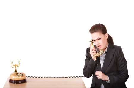 Happy businesswoman  call by phone   phone. Isolated. Stock Photo - 9897934