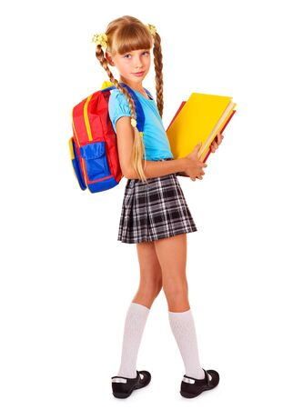 book bag: Schoolgirl with backpack holding books. Isolated.