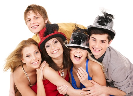 party hat: Group young people in party hat. Isolated Stock Photo