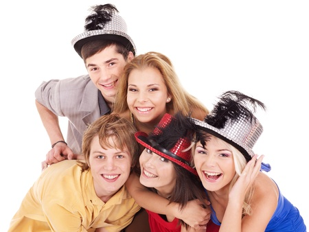 Group young people in party hat. Isolated photo